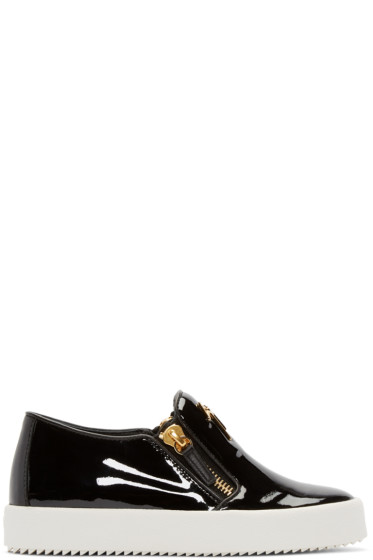 Giuseppe Zanotti - Black Patent Leather London Slip-On Sneakers