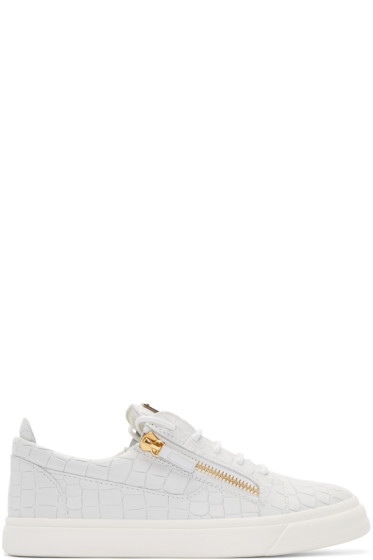 Giuseppe Zanotti - White Croc-Embossed London Sneakers