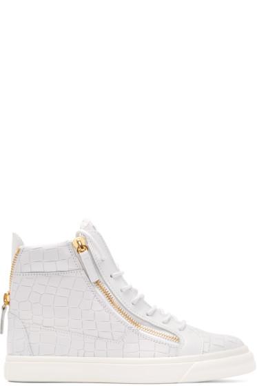 Giuseppe Zanotti - White Croc-Embossed London High-Top Sneakers