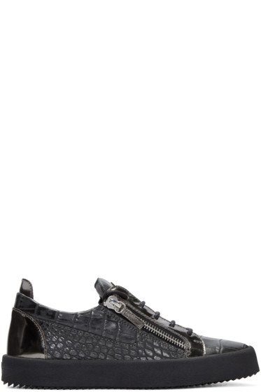 Giuseppe Zanotti - Grey Croc-Embossed London Sneakers