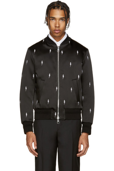 Neil Barrett - Black Thunderbolt Bomber Jacket