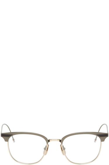 Thom Browne - Gunmetal & Gold Round TB-104 Glasses