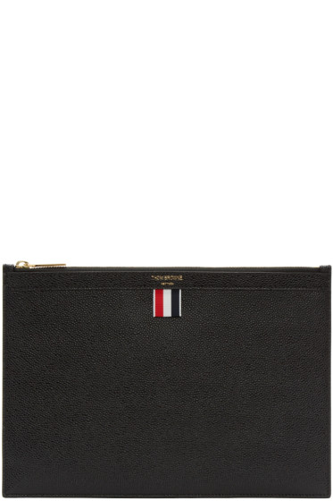 Thom Browne - Black Leather Zip Pouch