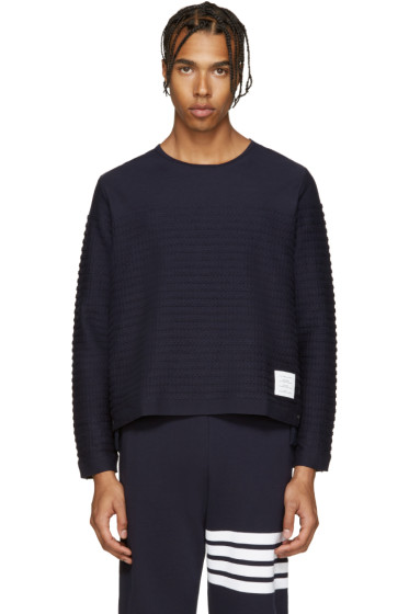 Thom Browne - Navy Rope Stitched Pullover