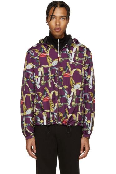 Versace - Multicolor Belts Print Hooded Jacket