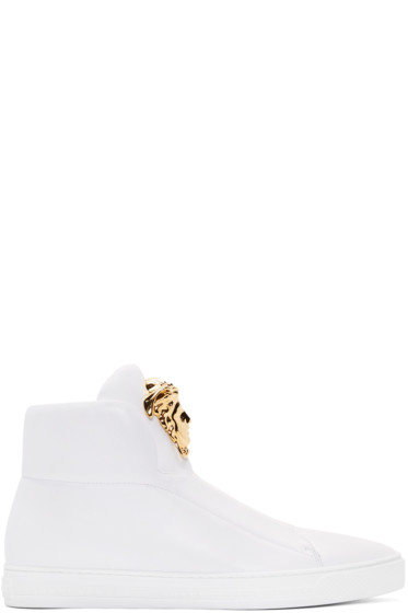 Versace - White Leather Medusa High-Top Sneakers