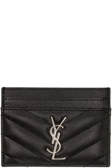 Saint Laurent - Black Quilted Monogram Card Holder