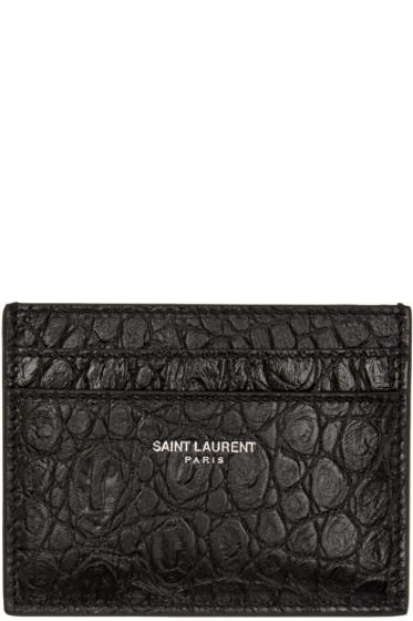 Saint Laurent - Black Croc-Embossed Card Holder