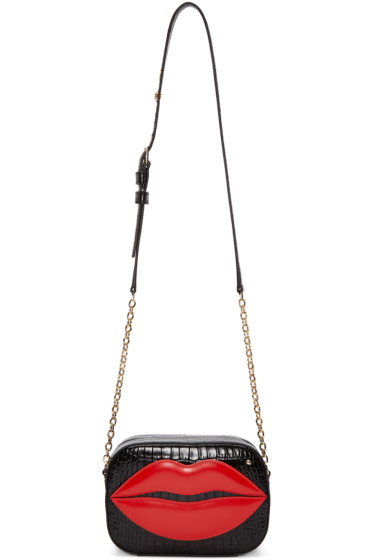 Charlotte Olympia - Black Croc-Embossed Pouty Bag
