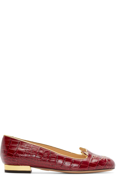Charlotte Olympia - Red Croc-Embossed Kitty Flats