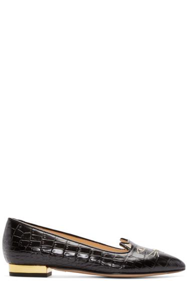 Charlotte Olympia - Black Croc-Embossed Mid-Century Kitty Flats