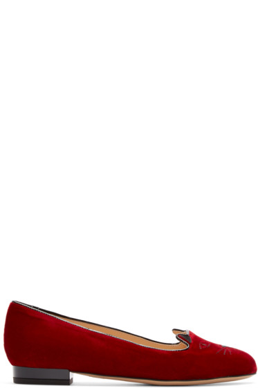 Charlotte Olympia - Red Velvet Kitty Flats