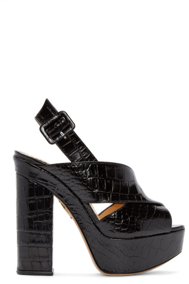 Charlotte Olympia - Black Croc-Embossed Electra Sandals