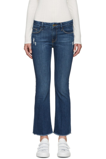 Frame Denim - Blue Le Cropped Mini Boot Jeans
