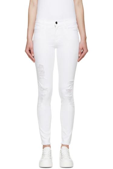 Frame Denim - White Skinny Le High Jeans