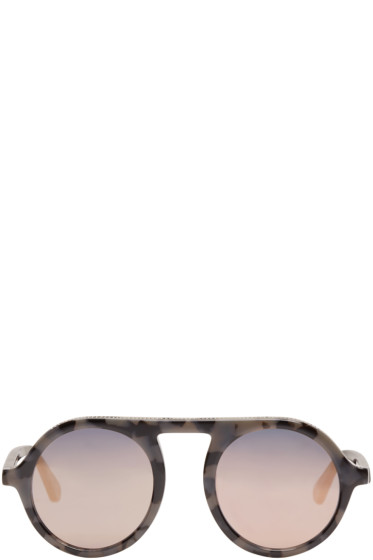 Stella McCartney - Black Mirrored Round Sunglasses