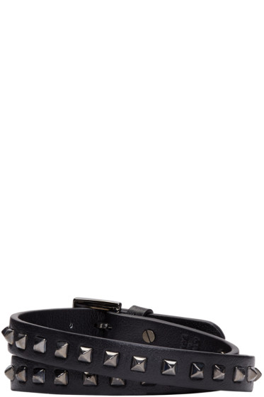 Valentino - Black Leather Wrap Rockstud Bracelet