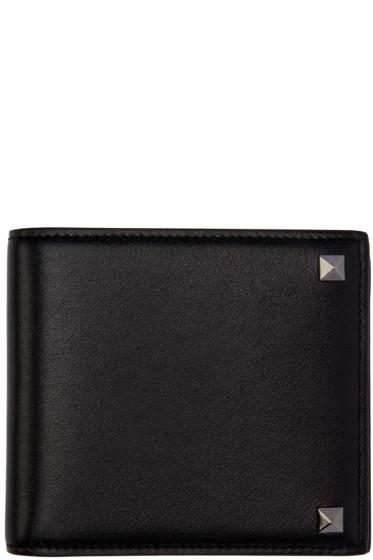 Valentino - Black Leather Rockstud Bifold Wallet