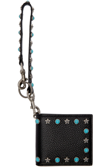 Valentino - Black Stone & Rockstud Bifold Wallet