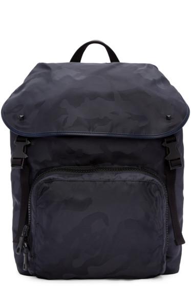 Valentino - Navy Nylon Camo Backpack