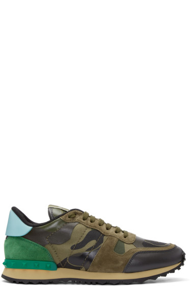 Valentino - Green Canvas Camo Sneakers
