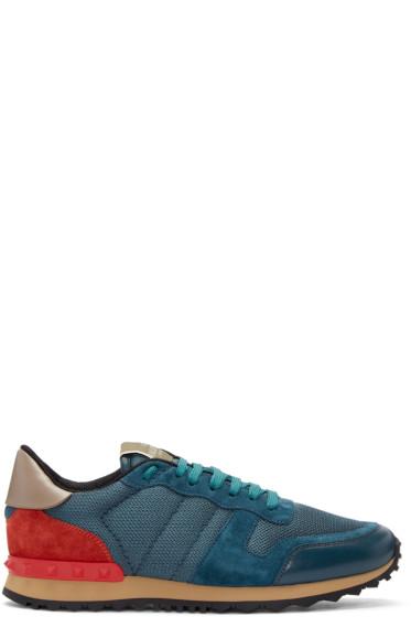 Valentino - Blue Nylon Mesh Sneakers