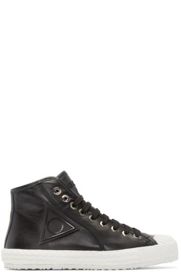 Jimmy Choo - Black Leather Seb High-Top Sneakers