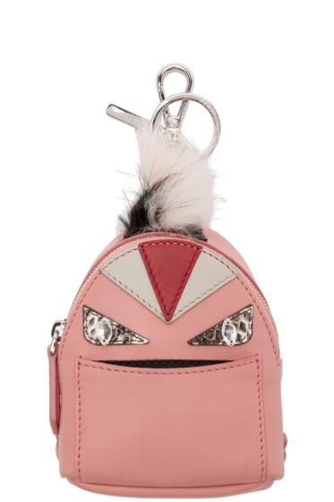 Fendi - Pink Fur-Trimmed Charm Wonders Backpack Keychain