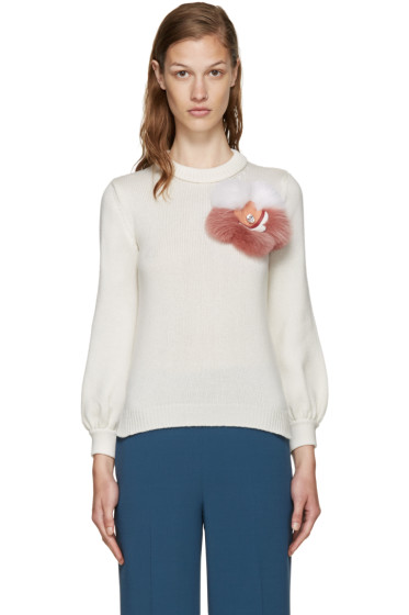 Fendi - Ivory Cashmere Floral Sweater