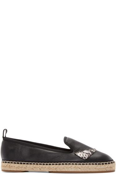 Fendi - Black Leather Bug Eyes Espadrilles