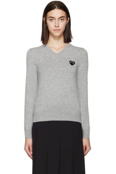 Comme des Garçons Play - Grey Black Emblem Sweater