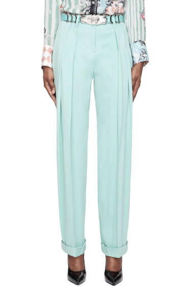Balmain - Mint Green Pleated Silk Trousers