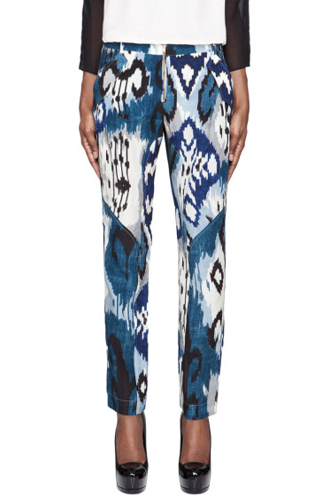 Altuzarra - Blue Printed Silk Simba Trousers