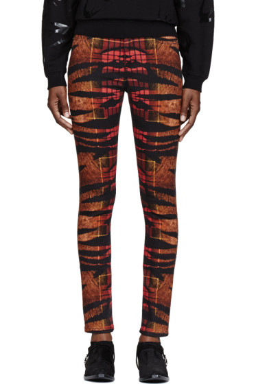 McQ Alexander Mcqueen - Orange Tiger & Tartan Print High-Waisted Pants