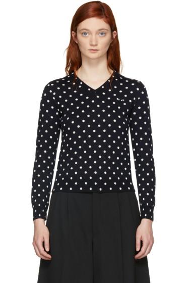 Comme des Garçons Play - Navy Polka Dot V-Neck Sweater