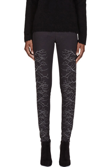 Gareth Pugh - Grey & Silver Faille Embroidered Trousers