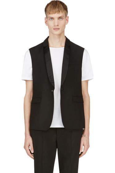 Krisvanassche - Black Sleeveless Tuxedo Vest