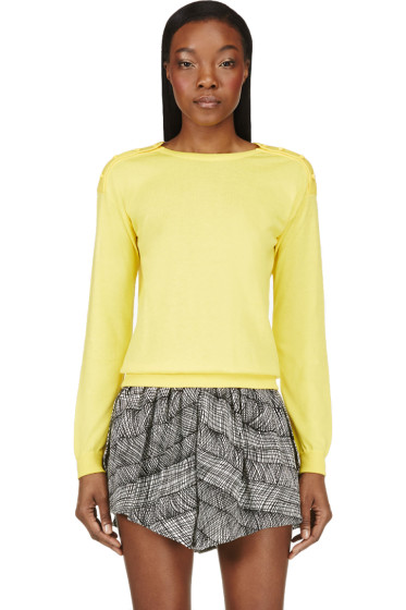 Christopher Kane - Yellow Swarovski Crystal Button Sweater