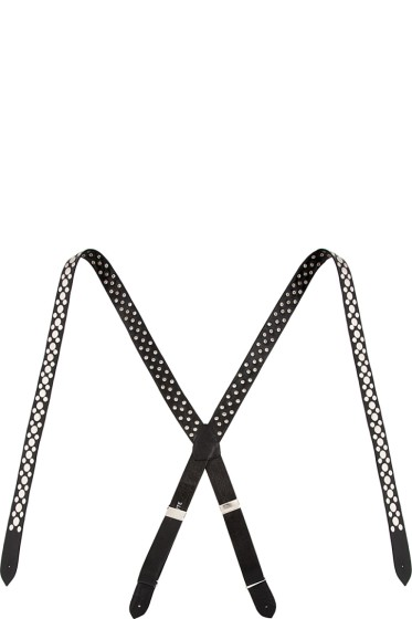 Rodarte - Black Leather Studded Suspenders