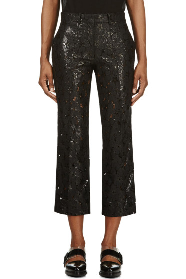 Simone Rocha - Black Lace Wide-Leg Cropped Trousers