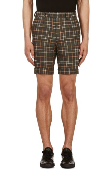 A.Sauvage - Green & Ochre Linen Plaid Shorts