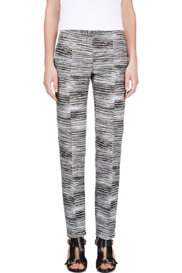 Calvin Klein Collection - Black & White Jacquard Brush Slice Tamar Trousers