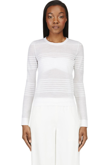 Calvin Klein Collection - White Semi-Sheer Engineered Stripes Sweater
