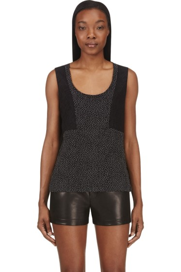 Costume National - Black Dot & Lace Silk Tank Top