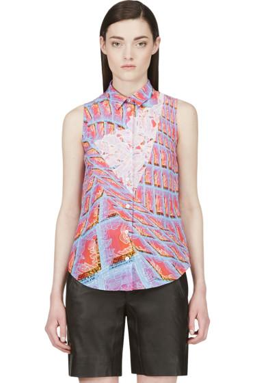 Peter Pilotto - Pink Silk Graphic Print Blouse