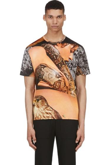 Richard Nicoll - Tan & Grey Layered Snake Graphic T-Shirt