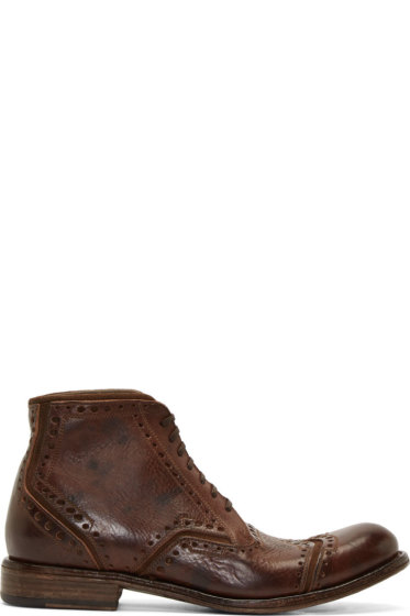 Dolce & Gabbana - Brown Worn Leather Brogue Boots