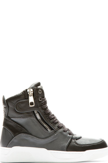 Dolce & Gabbana - Grey Panelled Leather High-Top Sneakers