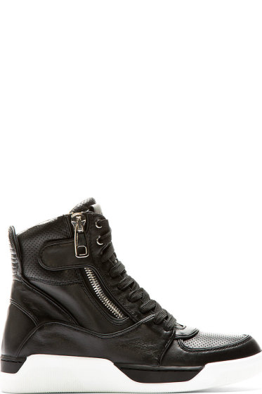 Dolce & Gabbana - Black & White High Top Leather Sneakers