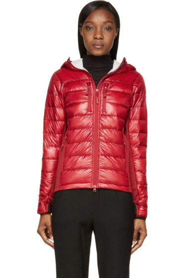 Canada Goose - Red Nylon & Knit Hybridge Hoodie Jacket